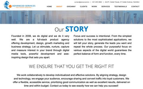 Screenshot of About Page advanced.bm - Advanced Services :: Web | Design | Marketing - About - captured Sept. 28, 2018