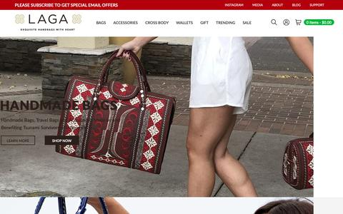 Screenshot of Home Page laga-handbags.com - Laga Handbags - Handmade Bags, Travel Bags and Accessories - captured May 14, 2019