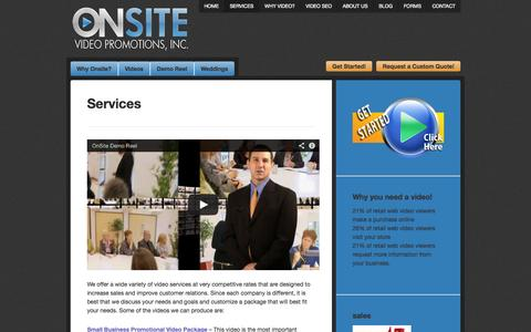 Screenshot of Services Page onsitevidpro.com - Services | OnSite Video Promotions- Sacramento Video Production - captured Oct. 26, 2014