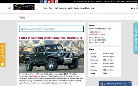 Screenshot of Press Page championcjdindiana.com - News Blog Post List | Champion Chrysler Jeep Dodge - captured Feb. 4, 2018