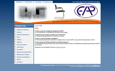 Screenshot of FAQ Page eap.com.pt - EAP, Mobiliário de Escritório  - FAQ - captured Oct. 1, 2014