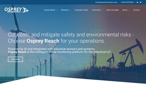 Screenshot of Home Page ospreyinformatics.com - Osprey Informatics - Intelligent Visual Monitoring for Industrial Operations - captured Oct. 19, 2018