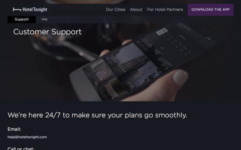 Screenshot of Support Page hoteltonight.com - Support - Hotel Tonight - captured Aug. 14, 2017