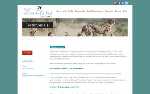 Screenshot of Testimonials Page adventuresuncorked.com - Adventures Uncorked Testimonials - captured Sept. 30, 2014