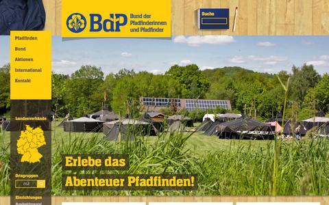 Screenshot of Home Page pfadfinden.de - BdP | Bund der Pfadfinderinnen und Pfadfinder e.V. - captured March 11, 2016