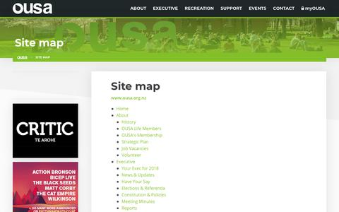 Screenshot of Site Map Page ousa.org.nz - Site map | OUSA - Otago University Students' Association - captured Oct. 19, 2018
