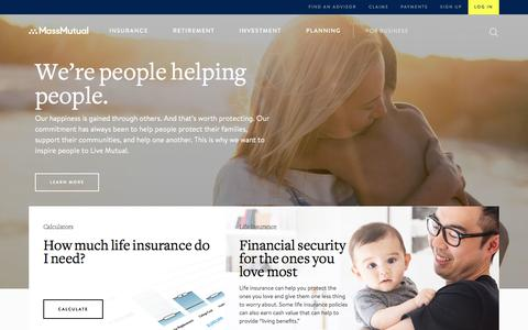 Screenshot of Home Page massmutual.com - Insurance, Retirement and Financial Services – MassMutual - captured May 13, 2017