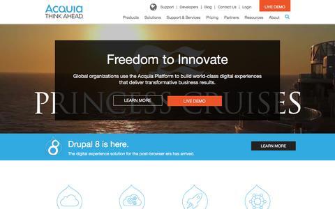 Screenshot of Home Page acquia.com - CMS Platform for Content, Community, Commerce | Acquia - captured Feb. 28, 2016