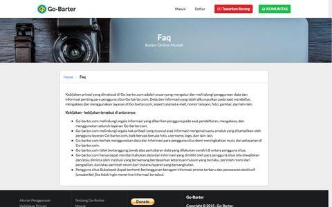 Screenshot of FAQ Page go-barter.com - Go-Barter       Faq - captured Sept. 30, 2016