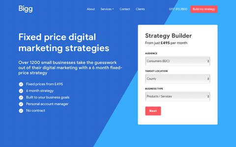 Screenshot of Home Page bigg.co.uk - Bigg - Fixed Price Digital Marketing - captured Aug. 17, 2019