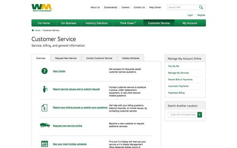 Screenshot of Support Page wm.com - Overview | Waste Management - captured Sept. 18, 2014