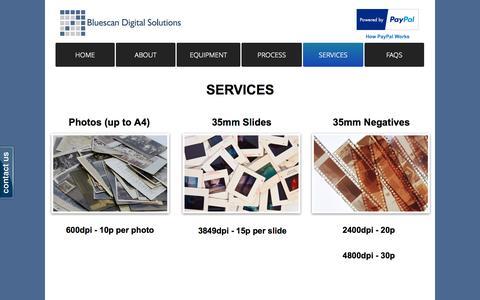 Screenshot of Services Page bluescandigitalsolutions.co.uk - 35mm Slide Scanning Service - captured Sept. 30, 2014