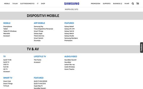 Screenshot of Site Map Page samsung.com - Mappa Del Sito | Samsung IT - captured Oct. 24, 2018