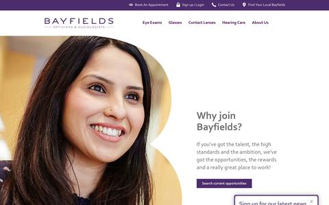 Screenshot of Jobs Page bayfieldsopticians.com - Careers At Bayfields | Optician Jobs | Bayfields Opticians - captured Aug. 5, 2019