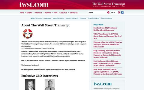 Screenshot of About Page twst.com - The Wall Street Transcript - captured Sept. 22, 2014