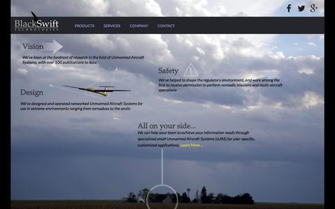 Screenshot of Home Page blackswifttech.com - Black Swift Technologies - captured Feb. 7, 2016