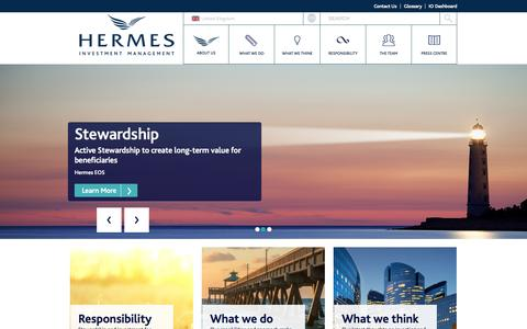 Screenshot of Home Page hermes-investment.com - Hermes Investment Management Global Homepage - captured Oct. 5, 2015