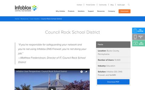 Screenshot of Case Studies Page infoblox.com - Council Rock School District - Infoblox - captured Sept. 25, 2017