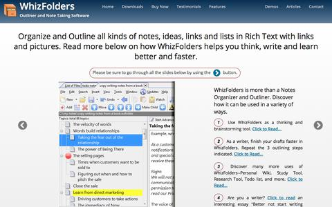 Screenshot of Home Page whizfolders.com - Note Taking Software and Outliner - WhizFolders - captured July 8, 2018
