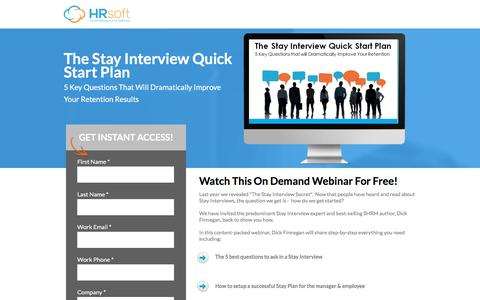 Screenshot of Landing Page hrsoft.com - The Stay Interview Quick Start Plan - captured Sept. 6, 2016