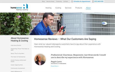 Screenshot of Testimonials Page trusthomesense.com - Testimonials | Homesense Heating and Cooling Indiana - captured Sept. 29, 2018