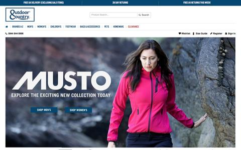 Screenshot of Home Page outdoorandcountry.co.uk - Barbour, Hunter Boots, Barbour Jackets, Aigle | Outdoor & Country - captured Sept. 23, 2014