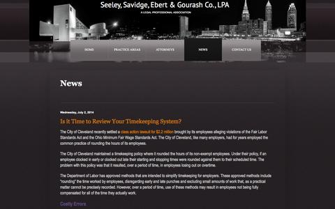 Screenshot of Press Page sseg-law.com - Seeley, Savidge, Ebert & Gourash Co., LPA News - captured Oct. 3, 2014