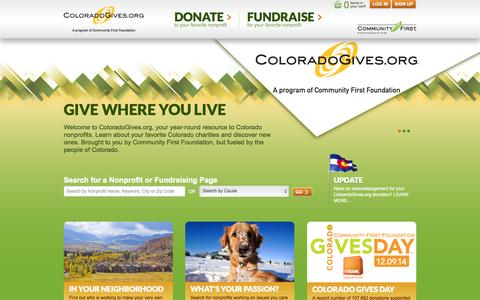 Screenshot of Home Page coloradogives.org - ColoradoGives - captured Jan. 26, 2015