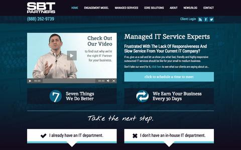 Screenshot of Home Page sbtpartners.com - IT Consulting Charlotte NC - IT Partners - Cloud Hosts - SBT Partners - captured Sept. 30, 2014