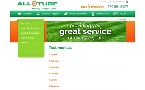 Screenshot of Testimonials Page allturflawncare.com - Customer Testimonials | All Turf - captured Oct. 4, 2014