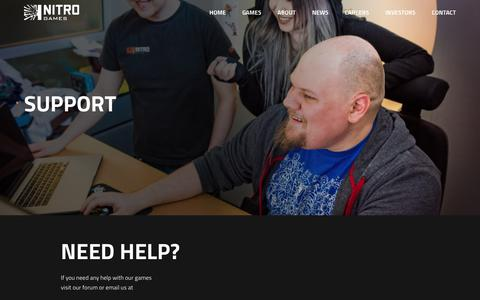 Screenshot of Support Page nitrogames.com - Support - Nitro Games - captured Nov. 4, 2017