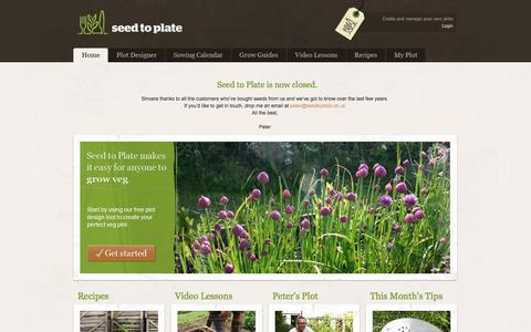 Screenshot of Home Page seedtoplate.co.uk - Organic Vegetable Seeds || Seed to Plate - Grow your own vegetables from seed - captured Oct. 3, 2014