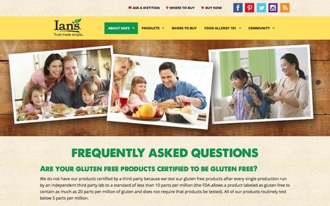 Screenshot of FAQ Page iansnaturalfoods.com - Frequently Asked Questions | Ian's Natural Foods | Allergy Friendly Foods - captured Jan. 8, 2016