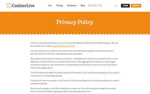 Screenshot of Privacy Page cashierlive.com - Privacy Policy - captured Nov. 18, 2015