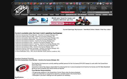Screenshot of Jobs Page nhl.com - NHL, Jobs, HockeyCareers - captured Oct. 27, 2014