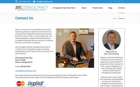 Screenshot of Contact Page jdcconsultancy.com - Contact JDC Consultancy   Jason Coles   Atlanta Georgia - captured Sept. 25, 2018