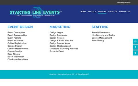 Screenshot of Services Page startinglineevents.com - SERVICES - STARTING LINE EVENTS - captured Sept. 24, 2018