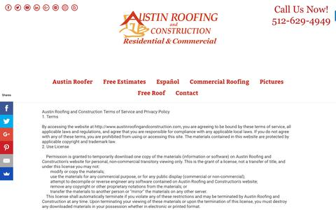 Screenshot of Privacy Page austinroofingandconstruction.com - Privacy Policy for Austin Roofing and Construction - captured Nov. 6, 2018