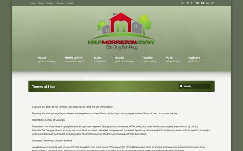 Screenshot of Terms Page jerrybolin.com - Terms of Use –  Help Morrilton Grow - captured Oct. 2, 2014