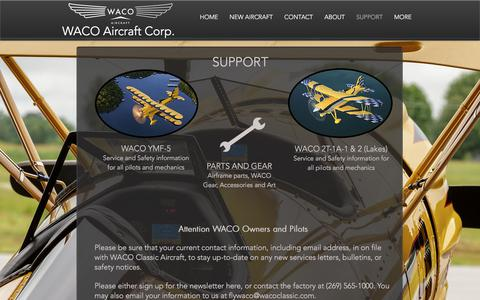Screenshot of Support Page wacoaircraft.com - WACO Aircraft Corp.  | SUPPORT - captured Oct. 18, 2017