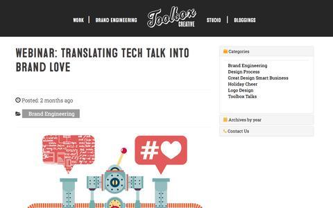 Screenshot of Signup Page toolboxcreative.com - Webinar: translating tech talk into brand love – Toolbox Creative - captured July 7, 2016