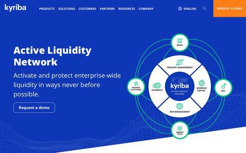Screenshot of Products Page kyriba.com - Active Liquidity Network | Kyriba - captured Oct. 18, 2019