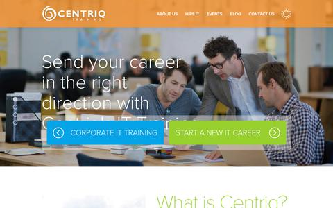 Screenshot of Home Page centriq.com - IT Career Training | Corporate IT Training - Centriq Training - captured Sept. 27, 2018