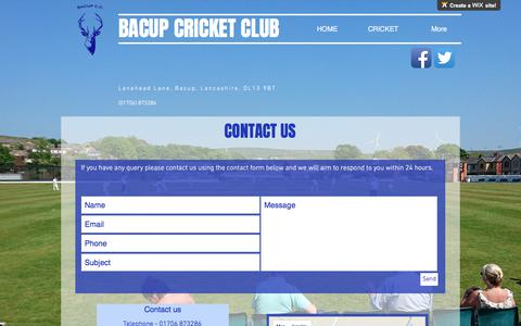 Screenshot of Contact Page bacupcc.com - Bacup Cricket Club/Contact - captured Oct. 9, 2017