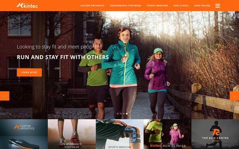 Screenshot of Home Page kintec.net - Kintec Footwear & Orthotics - captured Feb. 12, 2016