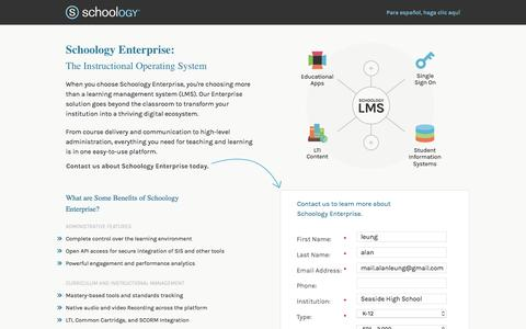 Screenshot of Landing Page schoology.com - Schoology Enterprise | The Instructional Operating System - captured May 5, 2017