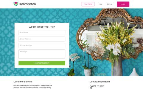 Screenshot of Contact Page bloomnation.com - Contact Us - captured Oct. 12, 2017
