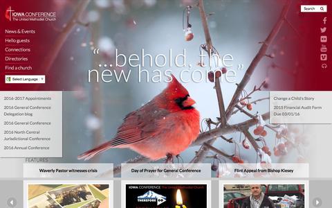Screenshot of Home Page iaumc.org - Iowa Conference: Home - captured Feb. 17, 2016