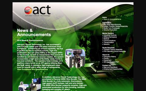 Screenshot of Press Page advcircuit.com - News & Announcements from Advance Circuit Technology, Inc. - captured Oct. 7, 2017