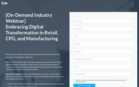 Screenshot of Landing Page box.com - Embracing Digital Transformation in Retail, CPG, and Manufacturing - captured March 4, 2018